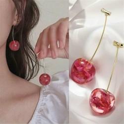 Nincs szín - Édes vörös cseresznye gyümölcs szimulációs gyanta fülbevaló csepp csüngő női divat *