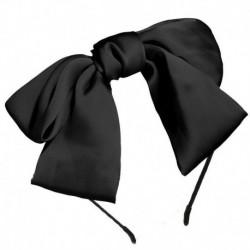 Fekete - Női női Ribbit fül hajszalag íj csomó fejpánt fejpánt haj karika tiszta szín