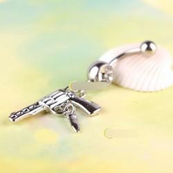 Ékszer fegyver pisztoly strasszos köldök piercing