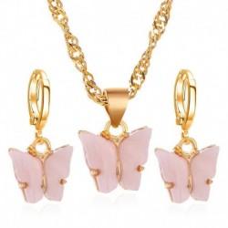 Rózsaszín (fülbevalók   nyaklánc) - Varázsa Retro Esküvői Nászutas Akril Pillangó Női Nyaklánc Fülbevalók