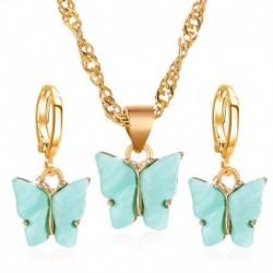 Kék (fülbevalók   nyaklánc) - Varázsa Retro Esküvői Nászutas Akril Pillangó Női Nyaklánc Fülbevalók Ékszerek