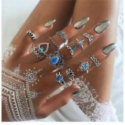 13 db / készlet ezüst * - Vintage női gyűrűk készlet halom sima felett csülök Midi ujjhegy gyűrű ékszerek