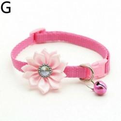 Rózsaszín - Strassz virág állítható cica gallér harang macska kisállat kiskutya pattintós csat