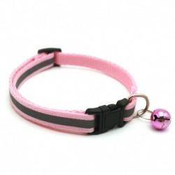 Rózsaszín - Állítható fényvisszaverő, leválasztható nejlon macska biztonsági gallér haranggal a macska cica számára