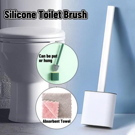 B - AKCIÓ Fali szilikon WC-kefe Puha gumi hosszú nyélű WC-kefe és Rongyszett tisztító kefe Fürdőszoba kiegészítők