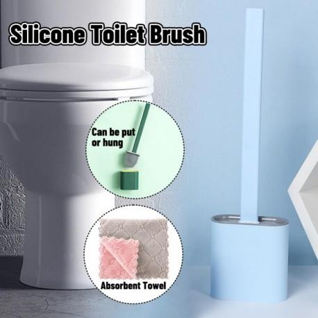 D - AKCIÓ Fali szilikon WC-kefe Puha gumi hosszú nyélű WC-kefe és Rongyszett tisztító kefe Fürdőszoba kiegészítők