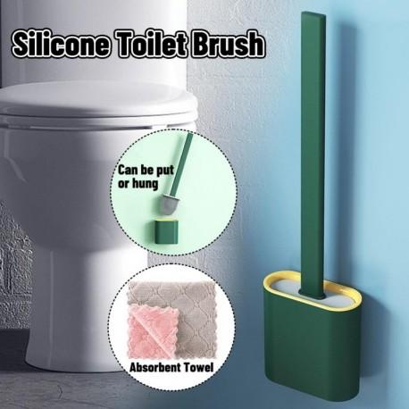 A - Falra szerelhető szilikon WC-kefe alapgumi fejtartóval Padlón álló, fali tisztító kefe Fürdőszoba kiegészítők