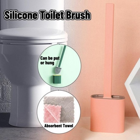 C - Falra szerelhető szilikon WC-kefe alapgumi fejtartóval Padlón álló, fali tisztító kefe Fürdőszoba kiegészítők