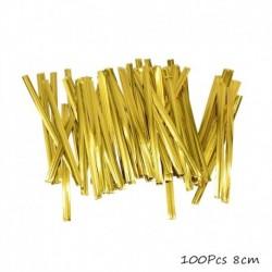 100db arany nyakkendő - 100db átlátszó műanyag zacskó cukorka nyalóka sütemény csomagoláshoz celofán táska
