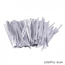 100db ezüst nyakkendő - 100db átlátszó műanyag zacskó cukorka nyalóka sütemény csomagoláshoz celofán táska