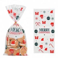Stílus4 - 50db Mikulás karácsonyfa jávorszarvas PVC táskák átlátszó átlátszó ajándék táska karácsonyi ajándék