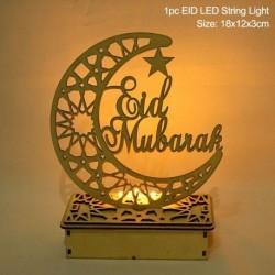 Stílus1 - LED Eid Mubarak fából készült barkács kézműves dísz medál Iszlám Muzulmán Párt lakberendezési tárgyak