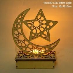 Stílus2 - LED Eid Mubarak fából készült barkács kézműves dísz medál Iszlám Muzulmán Párt lakberendezési tárgyak