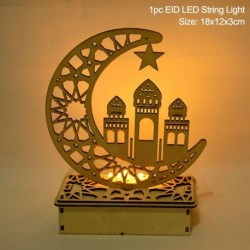 Stílus3 - LED Eid Mubarak fából készült barkács kézműves dísz medál Iszlám Muzulmán Párt lakberendezési tárgyak