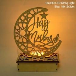 Stílus4 - LED Eid Mubarak fából készült barkács kézműves dísz medál Iszlám Muzulmán Párt lakberendezési tárgyak