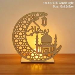 Stílus5 - LED Eid Mubarak fából készült barkács kézműves dísz medál Iszlám Muzulmán Párt lakberendezési tárgyak