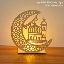 Stílus6 - LED Eid Mubarak fából készült barkács kézműves dísz medál Iszlám Muzulmán Párt lakberendezési tárgyak