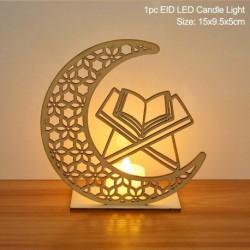 Stílus7 - LED Eid Mubarak fából készült barkács kézműves dísz medál Iszlám Muzulmán Párt lakberendezési tárgyak