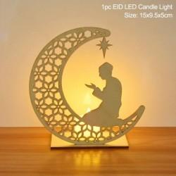Stílus8 - LED Eid Mubarak fából készült barkács kézműves dísz medál Iszlám Muzulmán Párt lakberendezési tárgyak