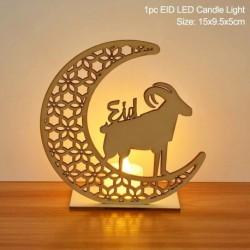 9. stílus - LED Eid Mubarak fából készült barkács kézműves dísz medál Iszlám Muzulmán Párt lakberendezési tárgyak
