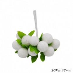 F16 - Fehér téma Mesterséges virág cseresznye porzó bogyók csomag DIY karácsonyi dekoráció esküvői torta ajándék