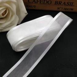 T01 - 5M 25 mm-es szatén élű organza szalag esküvői party dekorációhoz Kézzel készített szalag ajándékcsomagolás
