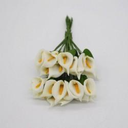 bézs - 36db Mini PE Calla Lily művirág csokor többszínű rózsa esküvői party virág dekoráció scrapbooking hamis