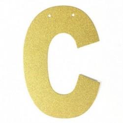 B - 1db / tétel 13 cm-es személyre szabott barkács arany csillogó papír levél szalagcímer függő zászlók esküvői