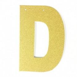 C - 1db / tétel 13 cm-es személyre szabott barkács arany csillogó papír levél szalagcímer függő zászlók esküvői