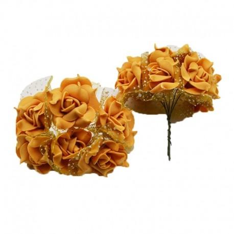 khaki - 30db 4cm habos rózsa művirág csokor többszínű rózsa esküvői virág dekoráció scrapbooking party otthoni hamis