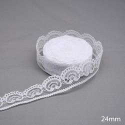 24mm - 10 yardos fehér csipke szövet díszítő csipke szalag hímzett csipke DIY varráshoz kézműves kézműves ruházat