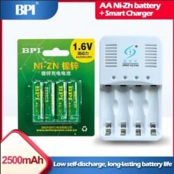 4db 1.6v AA 2500mWh Ni-Zn NiZn újratölthető akkumulátor készlet   1db intelligens töltő kábellel Ni-Zn Ni-Mh AA AAA