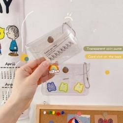 Egyszerű átlátszó kártya táska pénztárca diák hordozható csillogó érme pénztárca