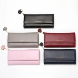 Női hosszú egyszínű pénztárca háromszoros kártyatartó multifunkcionális csat csatoló pénztárca