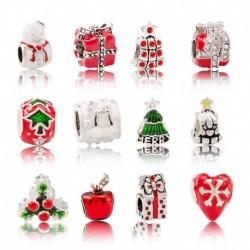 Divat személyiség karácsonyi sorozat ötvözet nagy lyukú gyöngyök DIY karkötő kiegészítők ékszer ajándék