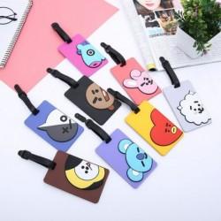 BTS PVC szilikon kártya tok poggyászcímke rajzfilm poggyászkártya készlet sík poggyász táska címke