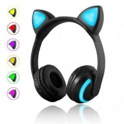 Vezeték nélküli Bluetooth Headset - Stílusos - Összehajtható fejhallgató LED-es világitó cica fülekkel