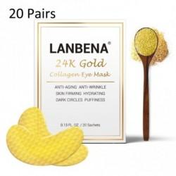 LANBENA 20Pár 24 k arany kollagén szem alvó maszk öregedésgátló ránc bőrfeszesítő