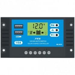 10A 12V 24V LCD kijelző PWM napelemes Controller Kettős USB napelemes töltő