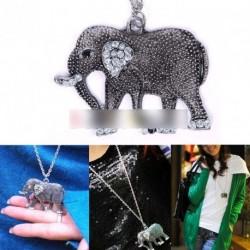 Divatos retro kristályos elefánt medál nyaklánc 1d