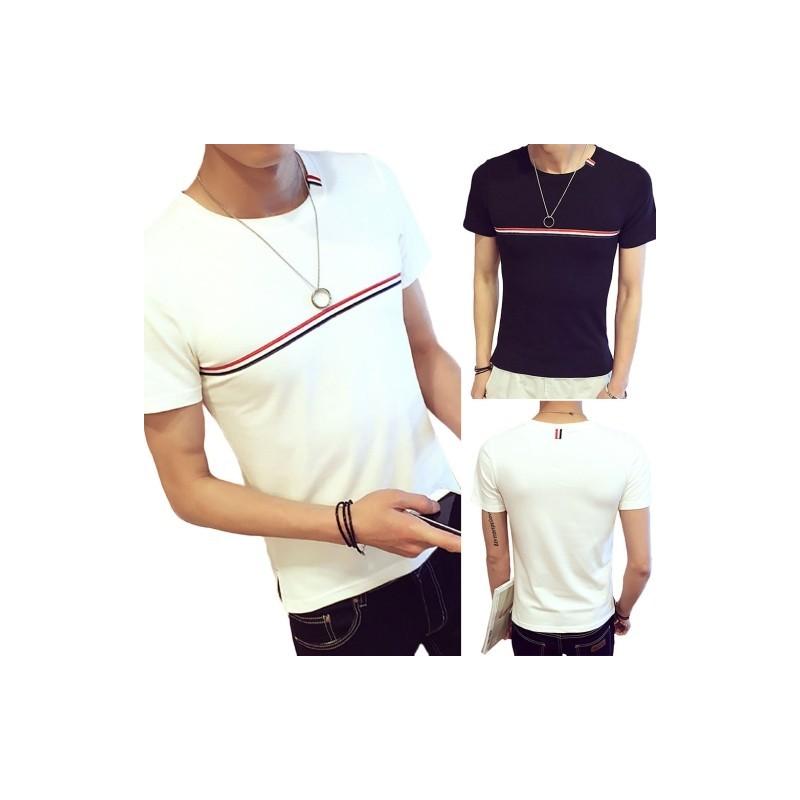 cd12baf245 1DB férfi felső o-nyakú férfi póló csíkos mintás fekete fehér laza nyári  póló fiú férfi felső