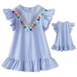 1 db Aranyos bébi gyerek ruha  Nyári ruha Ruffles V-nyakú bokor csíkos hercegnő ruha