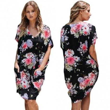 d22ad4c0e8 1 db virág mintás Szexi Női rövis ruha mini ruha elegáns party ruha bulir uha  nyári ...