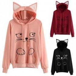 1 db Női Divat Cat Laza Hosszú Kapucnis Kapucnis pulóver nadrágos kabát cica füles macska