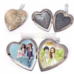 Retro bronz szív minta kinyítható medál nyaklánc