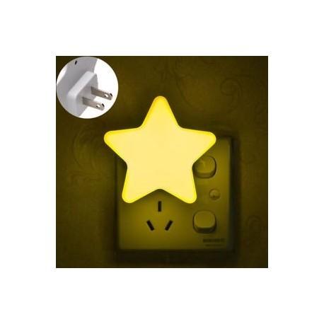 Sárga - EU / USA Dugaszérzékelő LED csillag Éjjeli fény fali lámpa Hálószoba Folyosó Forró