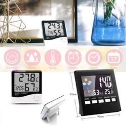Digitális Időjárás-előrejelzés Ébresztőóra Hőmérő Naptár LCD-kijelző