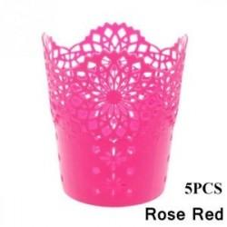 Rose Red-5PCS - 1 / 5PCS sminkkefetartó tolltartó edénytároló Hollow Flower csipke