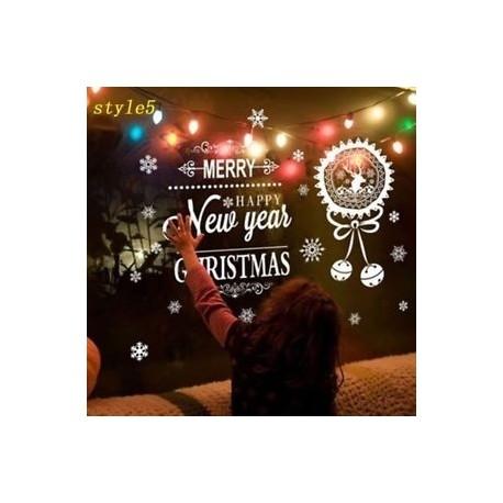 stílus 5 - PVC Boldog Új Év Fal Art Arany matricák Merry Christmas Balls & Snowflake