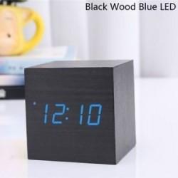 Fekete fa kék LED - USB / AAA hőmérő Naptár kijelző Asztali dekoráció Digitális LED ébresztőóra